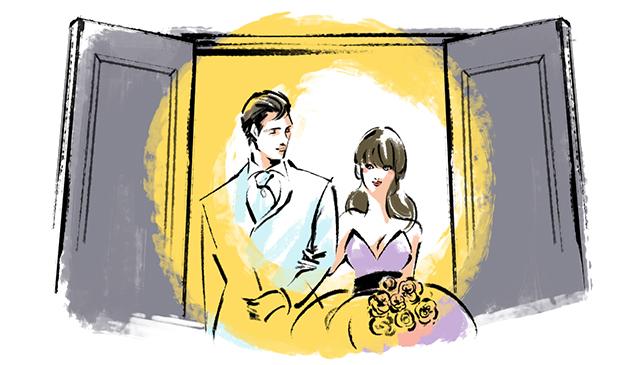 これは披露宴の始めの入場にもいえることですが、曲がちょうど盛り上がるところでドアオープンして新郎新婦が入場、というのが綺麗な流れ。